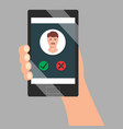 incoming call screen on mobile phone holding in vector image vector image