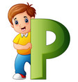 little boy holding letters p vector image vector image