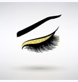 long lashes with gold decor vector image vector image
