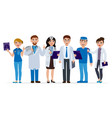 medical staff cartoon characters flat vector image