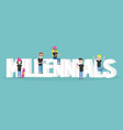 millennial sign young modern characters sitting vector image vector image