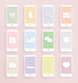 Mobile Phon function icon set vector image