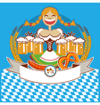 oktoberfest symbol label with girl and beer color vector image