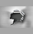 ragged hole torn in ripped steel on metal vector image