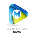 realistic letter m logo colorful triangle vector image vector image