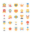 rewards and medals flat icons set vector image
