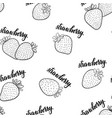 seamless pattern black and white strawberries vector image vector image