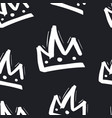 seamless pattern with hand drawn crown on black vector image