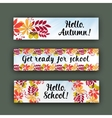 set horizontal banners with autumn leaves vector image
