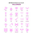 set of 25 feminish halloween flat color pink icon vector image