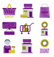 set of flat icons in shading style shop vector image vector image