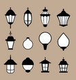 set of modern lamp in flat style isolated vector image