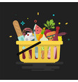 shopping basket with foods vector image vector image