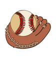 silhouette color with baseball glove and ball vector image vector image