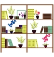 Simple bookshelves with books flowers pots vector image