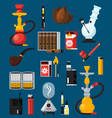 smoking flat colored icons set vector image vector image