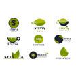 stevia leaves icons natural herbal sweetener set vector image