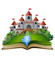 story book with a castle and river in the green pa vector image