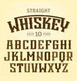 straight whiskey label font with sample design vector image vector image