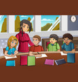 student and teacher in the classroom vector image