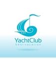 Summer sea travel logo sign with sailing ship vector image