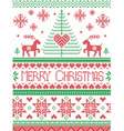 Tall merry Xmas pattern with reindeer green red vector image vector image