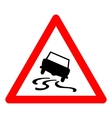 triangle traffic sign for slippery road vector image vector image