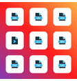 types icons colored set with file cad file xml vector image vector image
