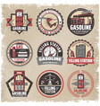 vintage colored filling station labels set vector image vector image