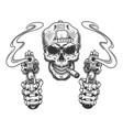vintage monochrome gangster skull in cap vector image vector image