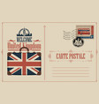 vintage postcard with suitcase flag and big ben vector image vector image
