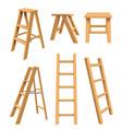 wooden ladders interior household equipment vector image