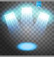 blue spotlight light effect on transparent vector image