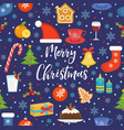 merry christmas seamless pattern flat style vector image