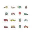 Transportation flat icons set vector image