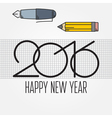 2016 and Drawing tools New Year and Christmas flat vector image vector image