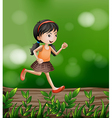 A girl running at the forest vector | Price: 1 Credit (USD $1)