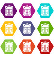 backpack element icons set 9 vector image vector image