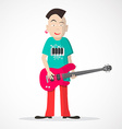Bass Guitar Player - Punk Style Isolated on Light vector image vector image