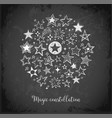 card with doodle sketch stars in circle on vector image