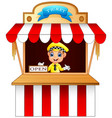 cartoon boy selling ticket at the booth vector image
