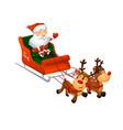 cartoon cute santa on a sleigh with funny reindeer vector image vector image