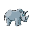 Cartoon grey rhino character vector image vector image