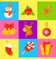 christmas icon set collection cartoon vector image vector image