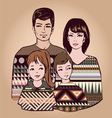 classical family with two children vector image