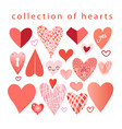collection hearts vector image vector image