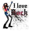 cool rocker cartoon musician vector image vector image