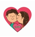 couple characters with heart love vector image