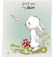 cute hare with letter vector image vector image