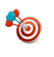 Dartboard with colorful darts Hitting A Target vector image